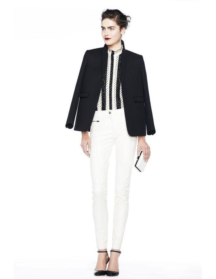 jcrew automne hiver 2013 2014 look pantalon blanc veste noire 32 bonnes raisons d 39 tre fan de. Black Bedroom Furniture Sets. Home Design Ideas