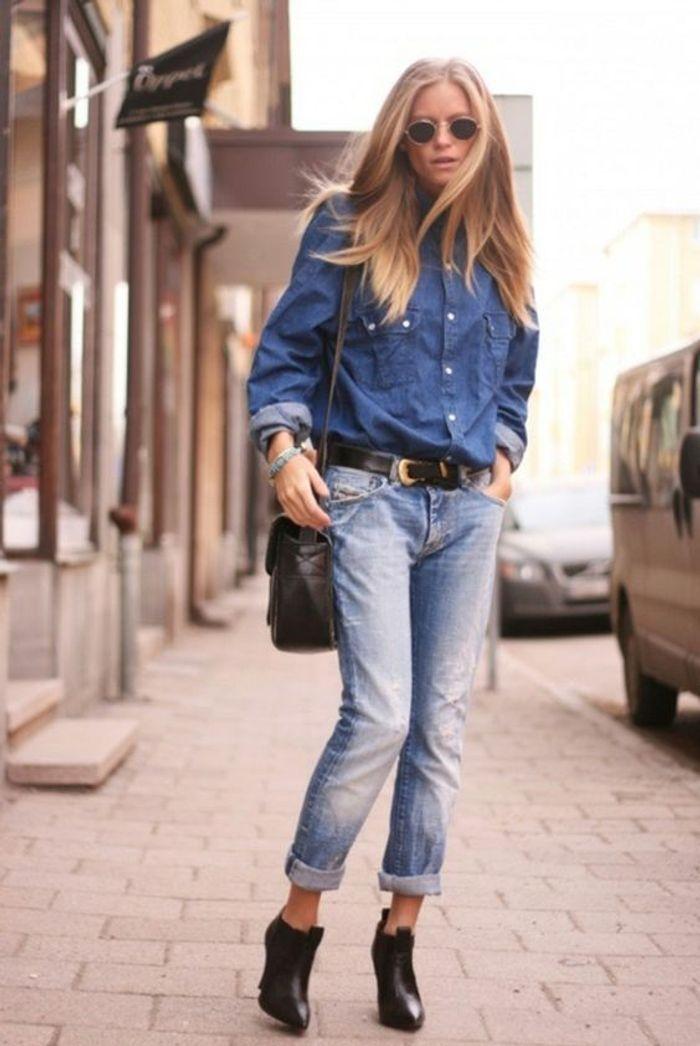 Avec un jean clair