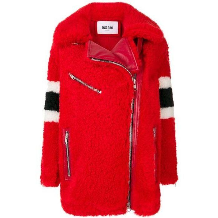Manteau rouge en fourrure MSGM