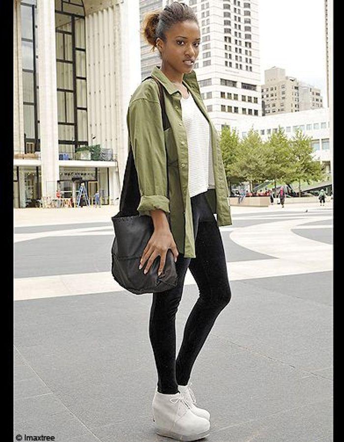 4mode Defiles New York Street Style Chemise Kaki Fashion