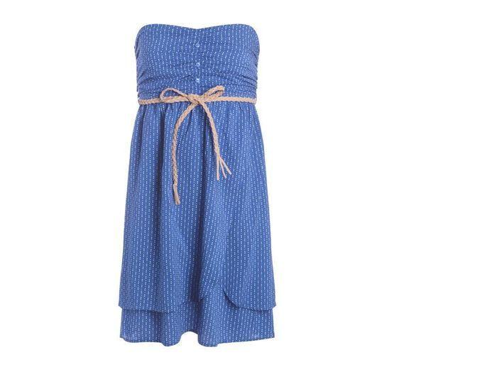 robe bustier bleue cache cache on joue des paules en. Black Bedroom Furniture Sets. Home Design Ideas