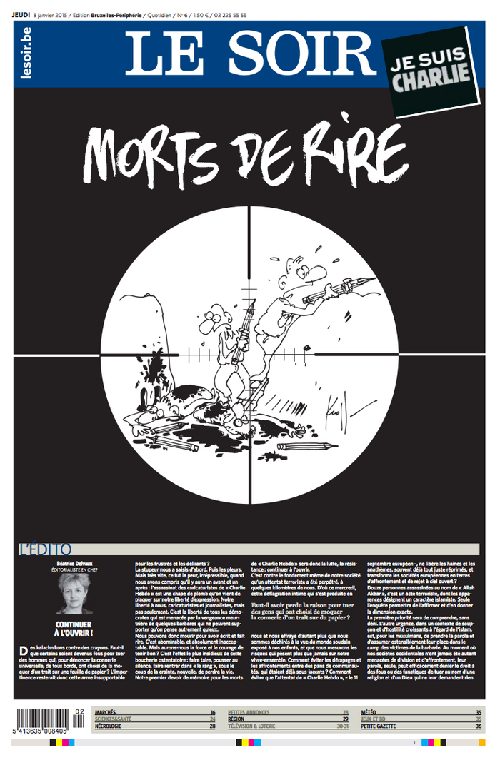 le journal belge le soir charlie hebdo les unes de la presse au lendemain de l attentat elle. Black Bedroom Furniture Sets. Home Design Ideas