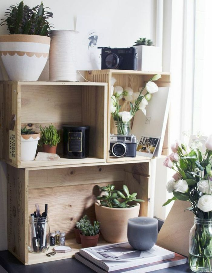 idee deco avec cagette en bois table basse diy palette en bois deco recup with idee deco avec. Black Bedroom Furniture Sets. Home Design Ideas