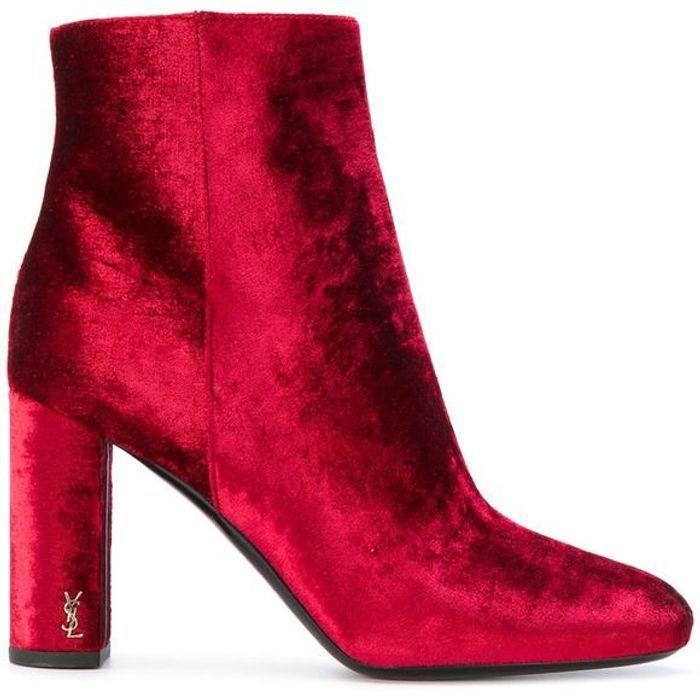 Bottes rouges en velours Yves Saint Laurent